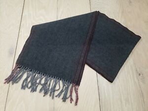 Club Room 100% Cashmere Scarf Unisex Charcoal Grey & Red Fringed