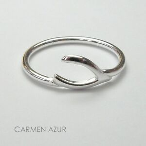 Solid 925 Sterling Silver MIDI Ring Wishbone Above Knuckle Stacking inc Gift Bag