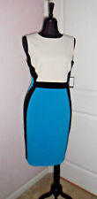 NINE WEST Knee-Length,lined,Bodycon~14~Sleeveless,Blue/Black/White,Polyester,NWT