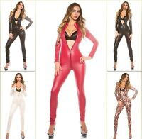 2 Way Zip KouCla Highcollar Wetlook Lederlook Catsuit Overall