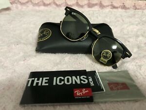 Ray-Ban Sunglasses Clubmaster 3016 W0365 Black Green G-15 Large 51mm