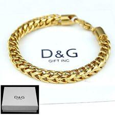 """8mm,Franco Chain Classics Bracelet*Unisex + Box Dg Men's 9"""" Gold Stainless Steel"""