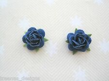 *ROYAL BLUE ROSE* STUD SILVER PLATED 15mm Earrings Rockabilly Gothic NEW