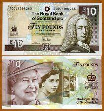 Scotland, 10 pounds, 6-6-2012, P-368, QEII, UNC > Commemorative Diamond Jubilee