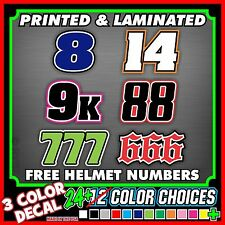 CUSTOM MX MOTORCYCLE NUMBER PLATE DECALS STICKERS **3 COLOR** SX ATV MOTOCROSS