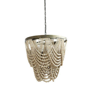 Mint and Mist 3-Light Natural Beaded Chandelier by 3R Studios