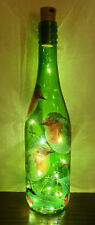 Beautiful LED Light Up Bottle - Robin - Decoupage - Christmas Gift - Lamp