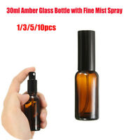 1-10x 30ml Amber Glass Bottles With Fine Mist Spray For Aromatherapy Perfume SP