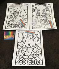 3 Large Unicorn ,frozen,so Cute Cat Velvet Colouring Picture Boards+16 Felts