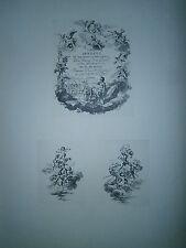 Planche gravure Vignette pour la géométrie Par Charles Nicolas Cochin le fils