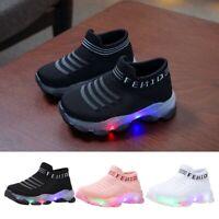 Kid Baby Girl Boy Letter Mesh Led Luminous Socks Sport Run Sneakers Casual Shoes