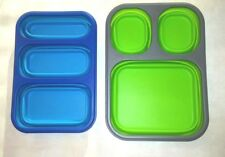 Smart Planet Collapsible Silicone Trays Portion Control Compartments Blue Green