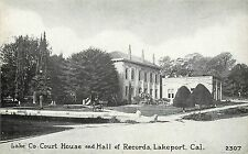c1920 Postcard; Lake County Court House & Hall of Records Lakeport CA 2307