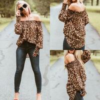 Damen Sexy Leopard Schulterfrei Langarm One Shoulder Bluse Shirt Top Oberteile