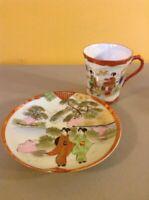 Vintage Antique Asian Geisha Girls Handpainted Tea Cup Saucer Plate Set