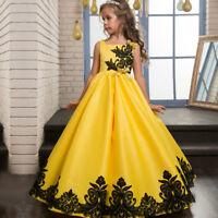 Flower Girls Kids Princess Dress for Girls Party Wedding Bridesmaid Gown O17