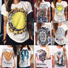 Women Graphic Printed Short Sleeve T-Shirt Blouse Summer Casual Loose Shirt Tops