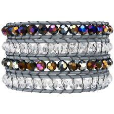 Rafaela Donata Armband Echtleder grau Glaskristall Sterling Silber