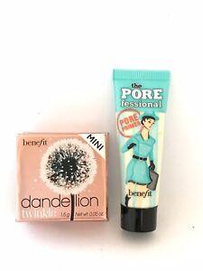 Benefit Set Mini Dandelion Twinkle Highlighting Powder &  Pore Fessional Primer