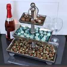 Soporte de Metal Vintage Rara Regtangular Pastel Cupcake hotel Buffet Boda 3 niveles