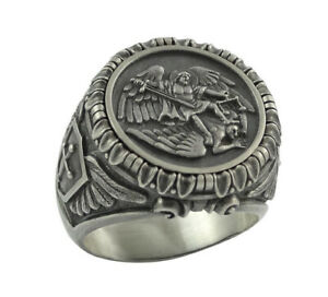 Saint St Michael the Archangel Angels Catholic Church Stainless Steel Ring M28