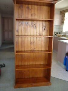 Timber bookshelf storage bookcase solid wood good condition book shelves