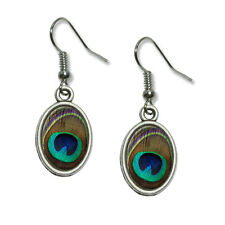 Peacock Feather - Novelty Dangling Drop Oval Charm Earrings
