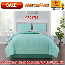 8 Piece Solid Bed-in-a-Bag Bedding Comforter Set with BONUS Sheets, King, Mint