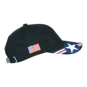 US Air Force USAF Kokarde Baseball Cap Black 3D Airforce Pilots WWII D-Day Army