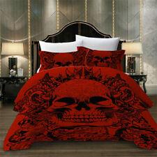 Skull Red Duvet Cover Pillowcase Bedding Set Quilt Cover King Queen Gothic 2021