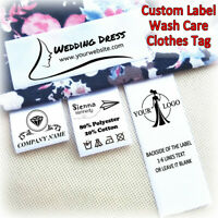 Personalised Custom Print Sew On Garment Hat Satin Clothing Label Tag Washcare