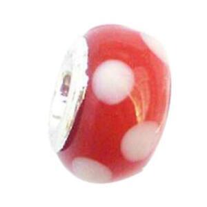 Toc Beadz Rosso a Pois 8mm Vetro da Infilare & da Sfilare Perlina