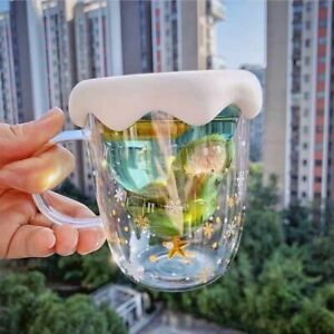 300ML Heat-resistant Glass Coffee Christmas Tree Cup Mug Transparent Double Deck
