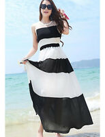 Women's Maxi Dress Black & White Sleeveless BNWT Sz 2XL Multi-Layer Ezy Care
