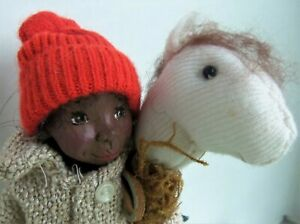 """Virginia Keith OOAK 9"""" AA Resin doll JIMMY and HIS HORSE, with certificate"""