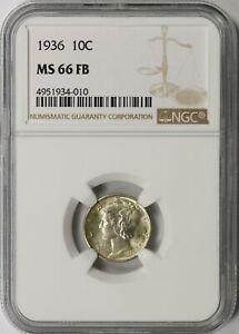 1936 Mercury Silver Dime 10c NGC MS66 FB