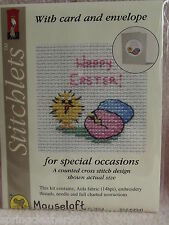 Mouseloft stitchlets CROSS STITCH ~ Felice Pasqua Chick & uova ~ CARD & BUSTA