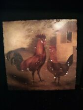 "Primitive Textured CERAMIC TILE CHICKEN REGAL ROOSTER Farm Scene ""ITALIAN LOOK""!"