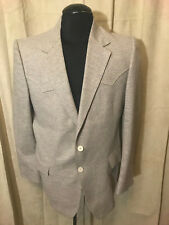 Mens Vintage 70s Dallas Western Apparel Western Blazer Size 42R Beige 2 Button