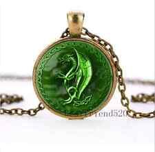 NEW Green Celtic Dragon Cabochon Glass Bronze Pendant Necklace Jewelry