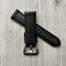 For Panerai Luminor PAM Marina Radiomir 24mm 26mm Black Leather Watch Strap Band