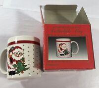 Vintage WINDSOR COLLECTION Santa Claus Mug Cup w/Box Holiday Tea Cocoa Christmas