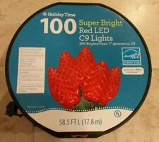 100 Holiday Time LED Super Bright Red LED C9 Christmas Lights Green Wire