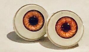 8mm Acrylic Amber Orange Vintage Bell Ceramics Doll Eyes Threaded Never Used