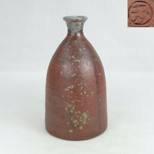 D1804: Japanese really old BIZEN stoneware bottle with very good clay in Edo era