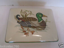 Fitz & Floyd Mcmlxxx Porcelain Canard Sauvage Playing Card Trinket Box