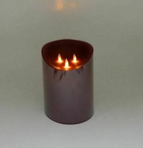 """LARGE Flickering Flameless LED Candle Light with Timer 6"""" x 8"""" Red Christmas"""