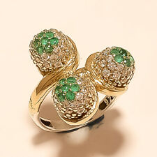 Silver Two Tone Thanks Giving Jewelry Natural Emerald Designer Ring 925 Sterling