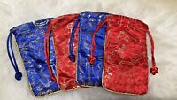 4 Red Pocket Royal Blue Cobalt Color Silk Embroidery Women Lady Case Pouch Gift
