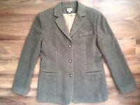 LL BEAN Womens Size 12 R Blazer Jacket 3 Button Wool Cashmere blend Green